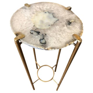 Modern Flecked Quartz Tea Table For Sale