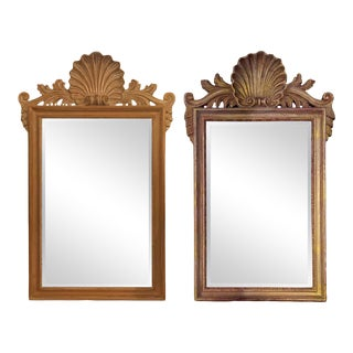 Compatible La Barge Italian Shell Carved Wall Console Mirror Made in Italy, Pair For Sale
