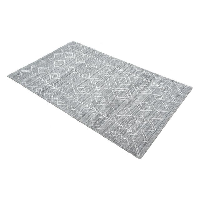 Silver Maxwell, Bohemian Moroccan Hand Loom Area Rug, Silver, 5 X 8 For Sale - Image 8 of 9