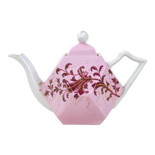 Vintage Rs Prussia Porcelain Pink Polygonal Teapot For Sale