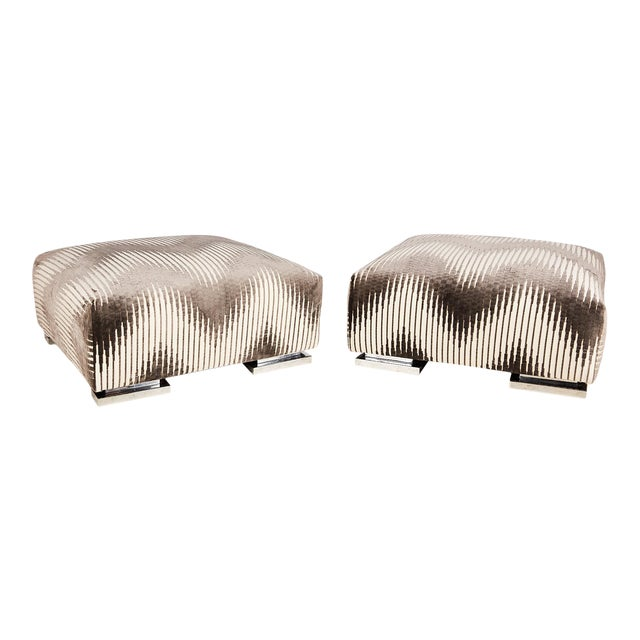 Pair of Midcentury Chrome Footed Ottomans in Jim Thompson Fabric For Sale