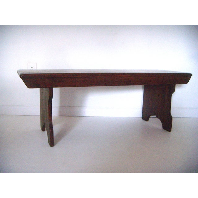 American Classical Mid 20th. Century Vintage American Two Seat Brown Pine Wood Bench For Sale - Image 3 of 7