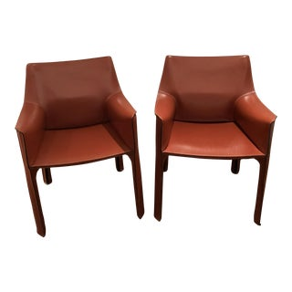 Mario Bellini Leather Cab Chairs by Cassina - A Pair