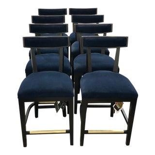 Fairfield Blue Velvet Counter Stools - Set of 8