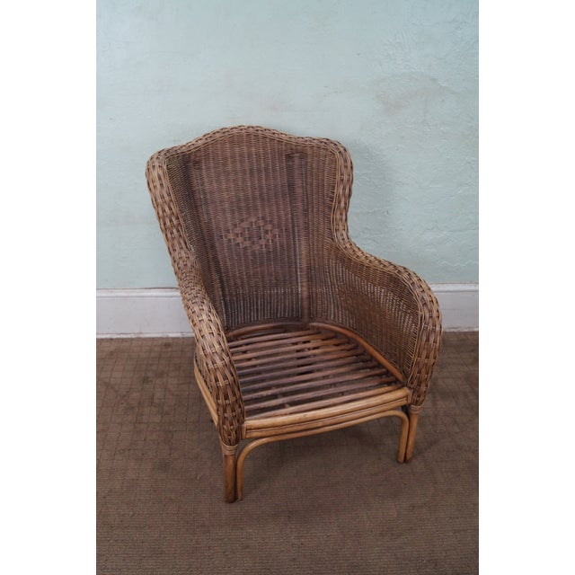 Braxton Culler Wicker Wing Lounge Chairs/Ottoman - Image 5 of 10