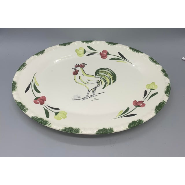 Boho Chic 1950s Blue Ridge Rooster Platter From Southern Potteries For Sale - Image 3 of 8