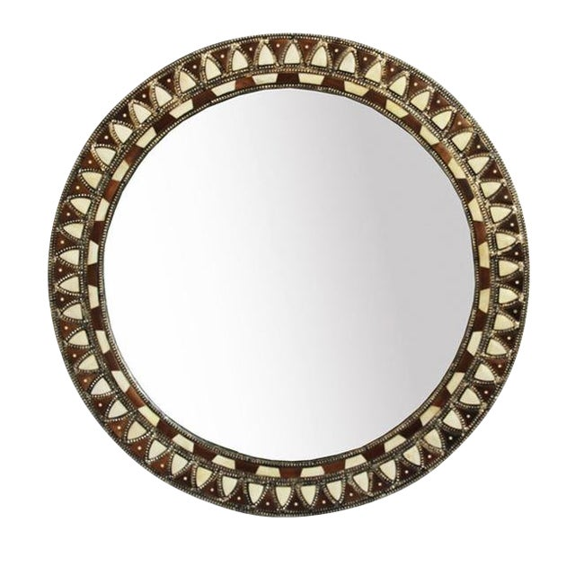 Round Inlay Mirror Large For Sale