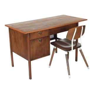 1960s Mid Century Modern Walnut and Cane Desk With Chair - 2 Pieces For Sale