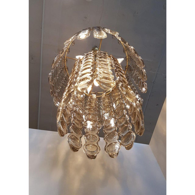Contemporary Mazzega Style Murano Smoked Glass Chandelier For Sale - Image 3 of 6