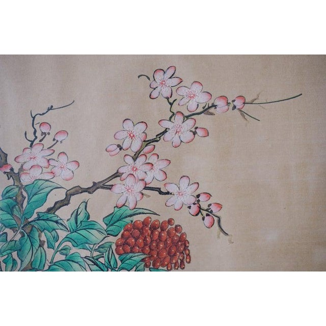 Chinese Hand Painted Asian Vase and Flowers Painting on Silk With Custom Frame For Sale In New York - Image 6 of 11