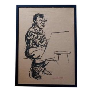 Emil Kosa Jr - Self-portrait - Original 1950s Ink on Paper Painting For Sale