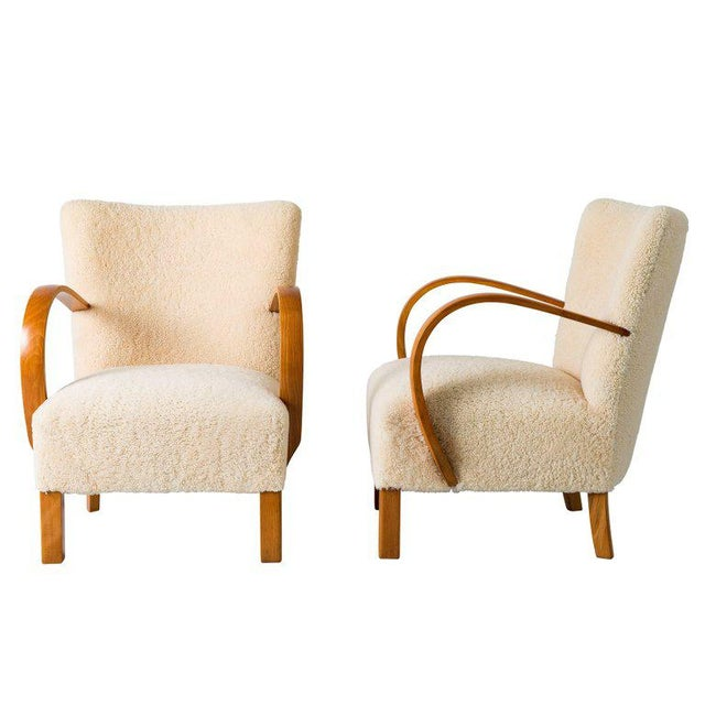Pair of Scandinavian Sheepskin Lounge Chairs For Sale - Image 4 of 9