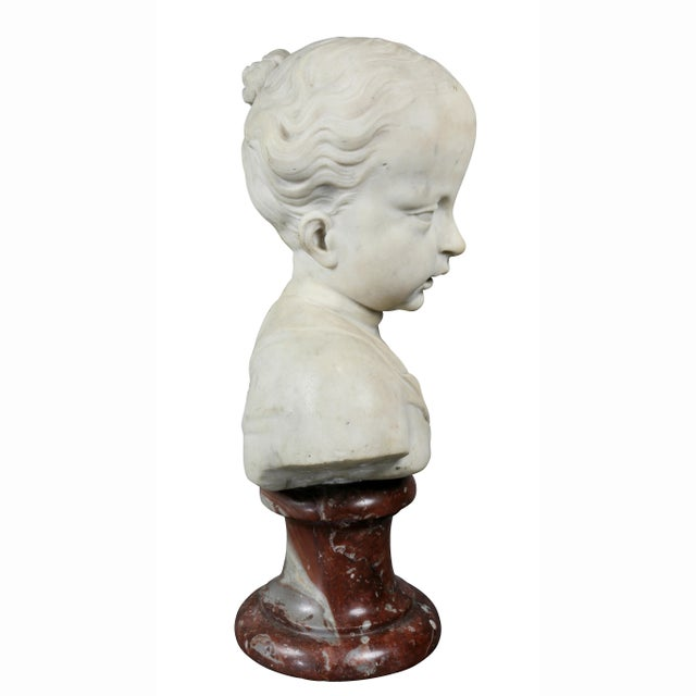 Louis XVI Louis XVI Marble Bust of a Young Boy For Sale - Image 3 of 7