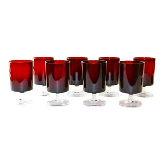 Set of 8 Mid-Century Modern Crystal Wine Glasses in Red, 1960's For Sale