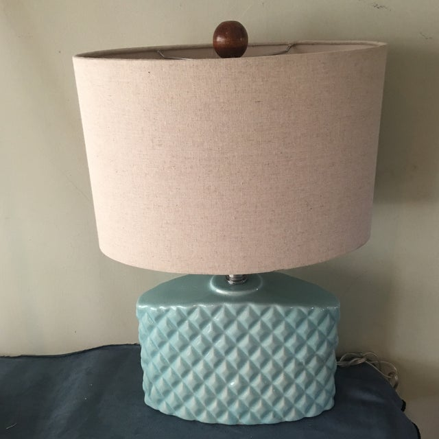 Automax Mid Century Turquoise Lamp - Image 2 of 6
