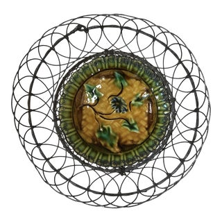 Majolica Wire Basket With Leaves Villeroy & Boch , Circa 1900 For Sale