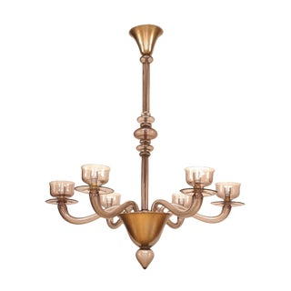 1940s Italian Venetian Murano Light Amethyst Glass Chandelier For Sale
