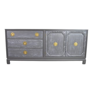Ming Style Davis Cabinet Company Gray Cerused Sideboard For Sale