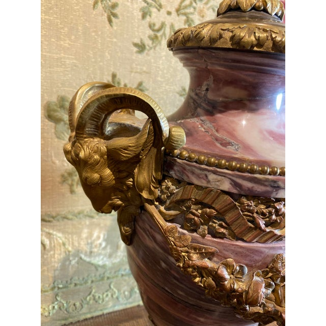 French Breche Violette Marble Urn Lamp With Gilt Rams Head and Swags For Sale - Image 4 of 11
