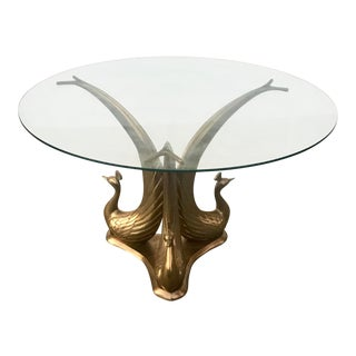 1970s Hollywood Regency Brass Peacocks Coffee Table For Sale
