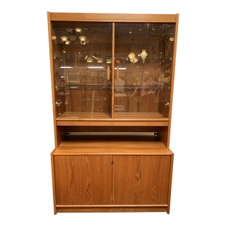 Danish Teak Two-Piece Lighted Hutch For Sale