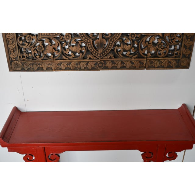 Red Lacquer Chinese Alter Table For Sale - Image 4 of 6