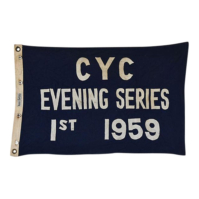 Vintage 1959 Cleveland Yacht Club Trophy Flag For Sale In Los Angeles - Image 6 of 6