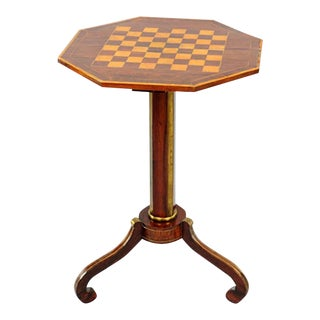 Exceptional Russian Parquetry Inlaid Chess Table With Gilt Mounts