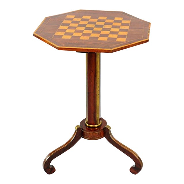 Exceptional Russian Parquetry Inlaid Chess Table With Gilt Mounts For Sale