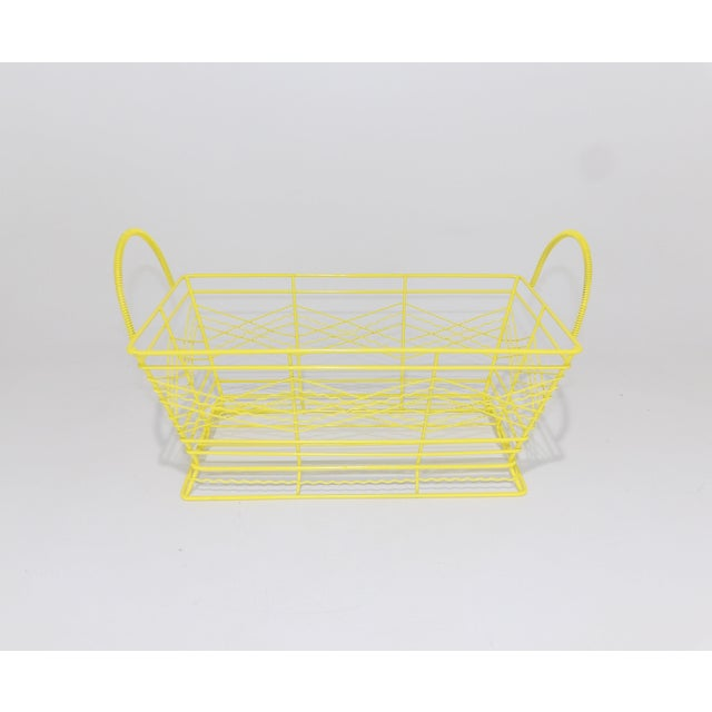 Mid 20th Century Contemporary Electric Yellow Bathroom Metal Wire Toiletries Catchall For Sale - Image 5 of 8