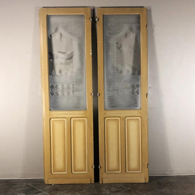 Pair 19th Century Etched Glass Interior Doors For Sale - Image 12 of 12