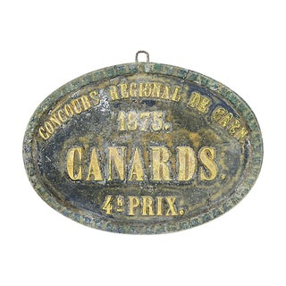 1875 French Duck Agricultural Trophy Plaque For Sale