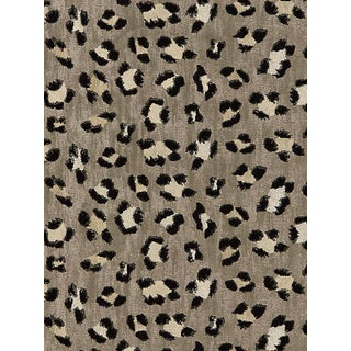 Sample, Scalamandre Broderie Leopard, Ebony on Silver Fabric For Sale
