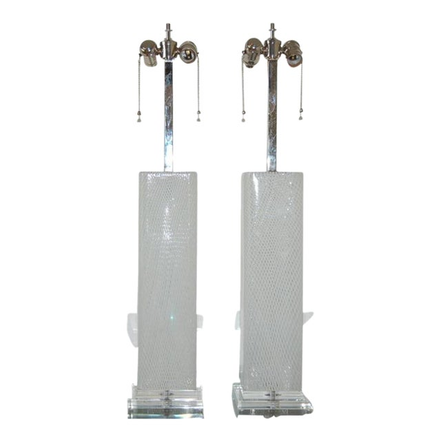 Dino Martens Vintage Murano Glass Table Lamps Square White For Sale