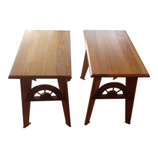 1950s Americana Wagon Wheel Oak End Tables - a Pair For Sale
