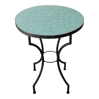 Moroccan Mosaic Teal Color Bistro Tiles Table For Sale