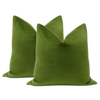"22"" Peridot Velvet Pillows - a Pair"