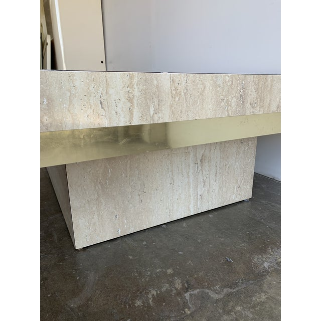 Faux Travertine and Brass Coffee Table For Sale - Image 10 of 12