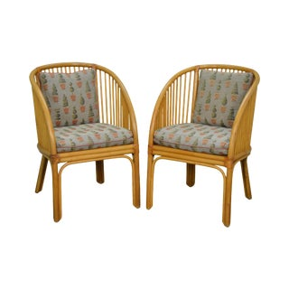 McGuire Style Pair of Rattan Bamboo Curved Back Arm Chairs For Sale