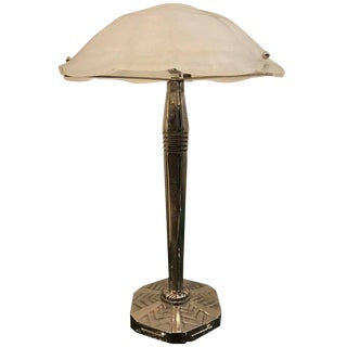 French Art Deco Table Lamp Signed by Sabino with Geometric Motif For Sale