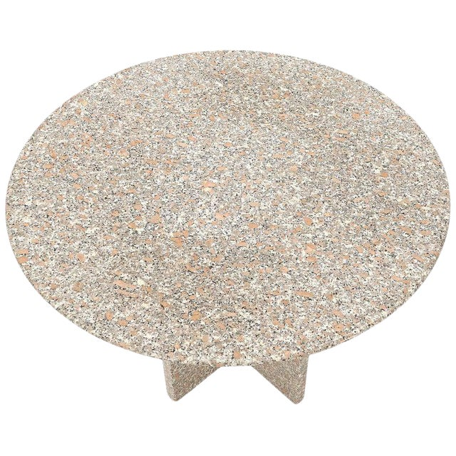 Round Granite Stone X Base Dining Dinette Center Table For Sale