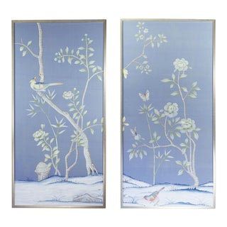 "Chinoiserie ""Furness"" Hand-Painted Silk Diptych by Simon Paul Scott for Jardins en Fleur - a Pair For Sale"