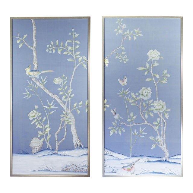 """Chinoiserie """"Furness"""" Hand-Painted Silk Diptych by Simon Paul Scott for Jardins en Fleur - a Pair For Sale"""