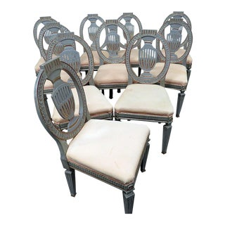 Early 20th Century Gustavian Style Side Chairs- Set of 10 For Sale