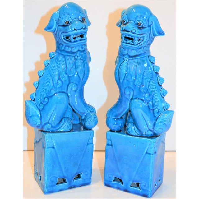 Robin's Egg Blue 1980s Chinese Turquoise Glazed Large Foo Dog Figurines - a Pair For Sale - Image 8 of 9