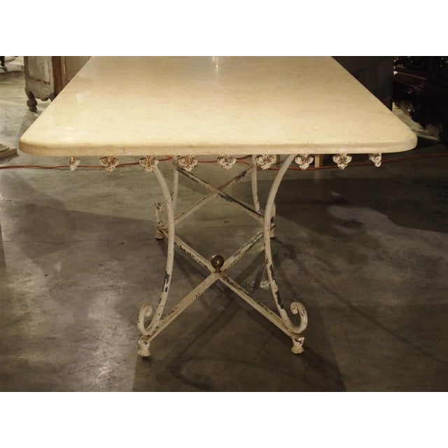 French Country Large Antique French Iron and Marble Butcher Display Table, Circa 1915 For Sale - Image 3 of 11