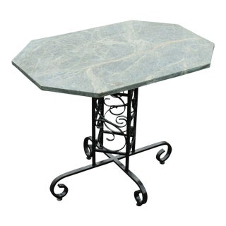 Custom Wrought Iron Garden or Patio Bistro Table With Green Marble Top For Sale