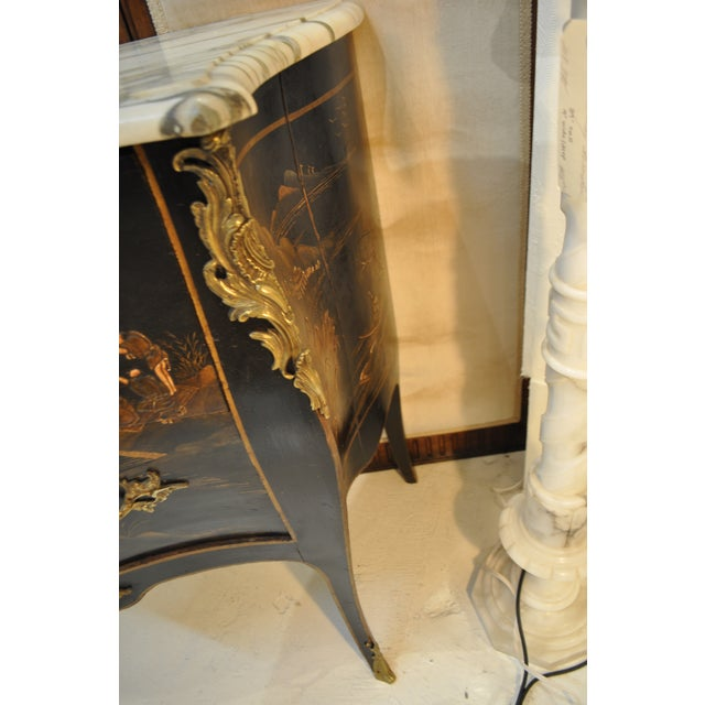 French Louis XV Style Bombe Form Two Drawer Chest With Chinoiserie Decorations and White Marble Top For Sale - Image 12 of 13