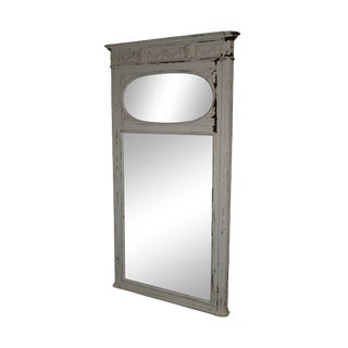 Mid 19th Century Antique French Louis XV Style Distressed White Painted Trumeau Mirror For Sale