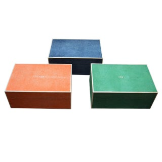 Set of Three Colorful Shagreen Boxes For Sale